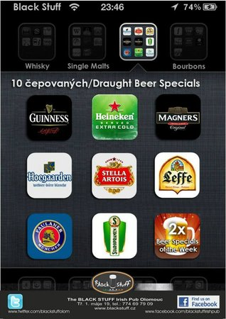 The Black Stuff Irish Pub & Whisky Bar: 8 Draughts + 2 Czech Beer Specials