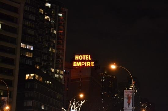 Empire Hotel: walking up broadway