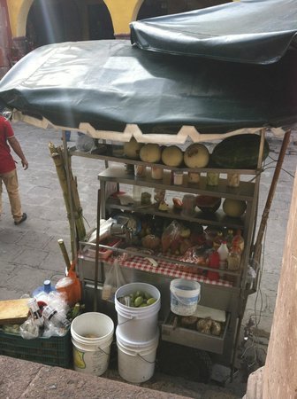El Jardin: Street Vendors offering food, candies, cigerattes