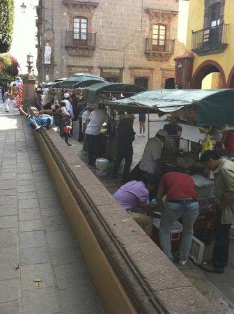 Food Vendors Flanking El Jardin