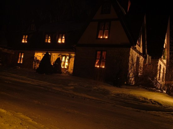 The Notchland Inn: The Inn at night in winter