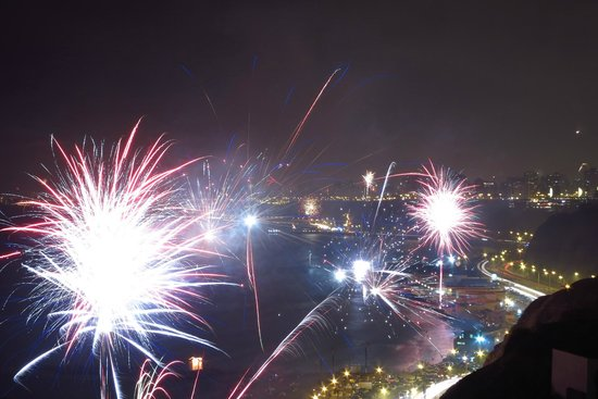 Second Home Peru: View of coast line and NYE fireworks from the property.
