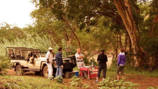Naledi Bushcamp and Enkoveni Camp: morning tea next to the hippos in the Olifant river