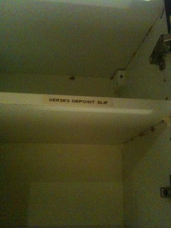 Lofts du Vieux-Port: Accounting label on cupboard shelf.