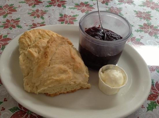 Old Town Cafe: huge biscuit and great, thick strawberry jam