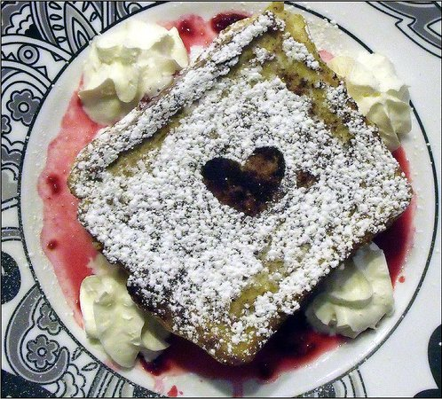 Roast 'N Toast Family Diner: Our Valentine`s Special, Dark Chocolate Raspberry Cheesecake French Toast