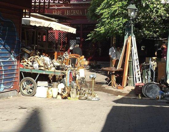 Monastiraki: A cart piled with stuff at the Sunday flea market