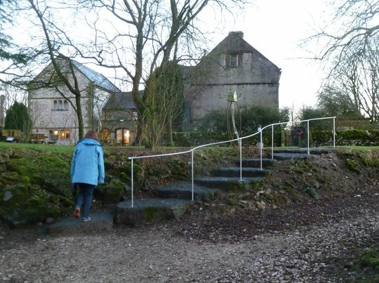 Biggin Hall Country House Hotel: Walking up from the Lodge; the rough rustic steps are lit at night and there is now a hand rail.