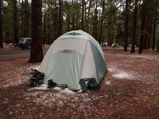 North Rim Campground: Out tent after the fantastic thunder/hail storm.