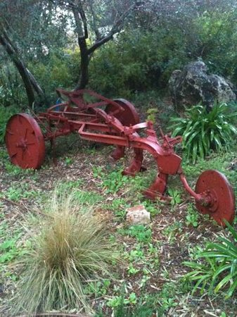 Kibbutz Lavi Hotel: old farm machinery as decoration in the garden