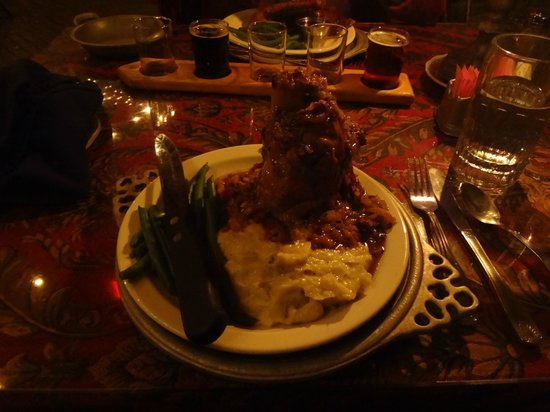 Catacombs at Bube's Brewery: Pork Shank with cabbage, mashed potatoes, and fresh green beans