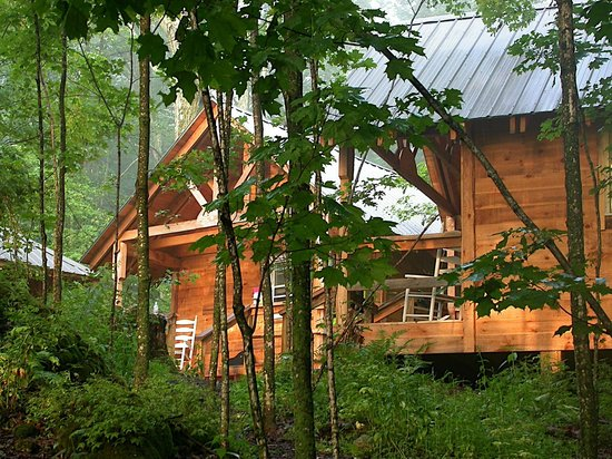 Camp Common Ground: Twenty unique rustic cabins are sprinkled throughout a maple grove.