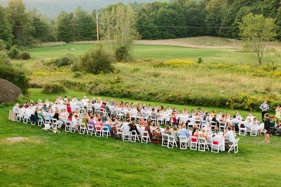 Starksboro, VT: An summery outdoor reception at Common Ground Center.