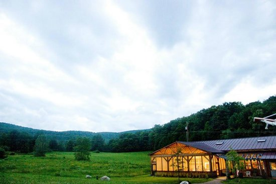 Starksboro, VT: The 1850 sq. ft.  dining hall with a glowing screened-in porch sits against a gorgeous backdrop.
