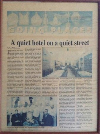Azzahra Hotel & Restaurant: Probably hard to read but an interesting article about the hotel posted in the lobby