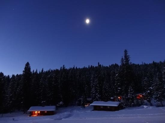 Lone Mountain Ranch: Cabins under full moon in the morning Dec. 2012