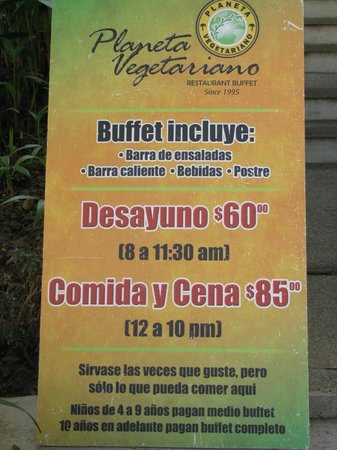 Planeta Vegetariano: Sign out front.