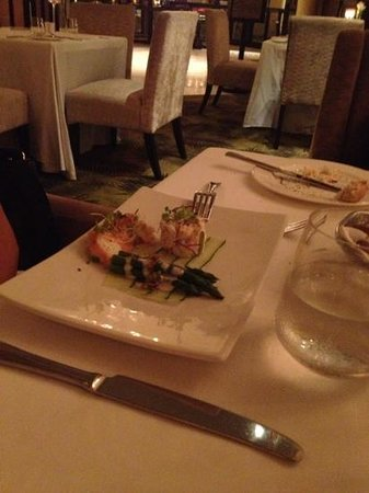 The Sugar Club: crab & asparagus starter