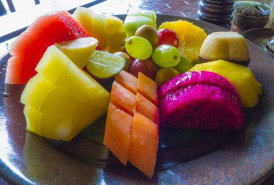The Oberoi, Lombok: the fruit platter served as part of the Royal breakfast