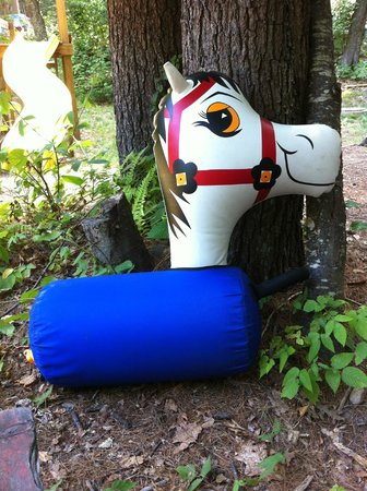 "Whispering Pines Campground: One of the inflatable horses used at the kids ""horse race"""
