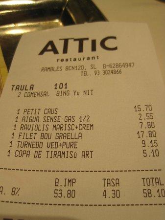 Gives you an idea of the prices fotograf a de attic restaurant barcelona tripadvisor - Restaurante attic barcelona ...