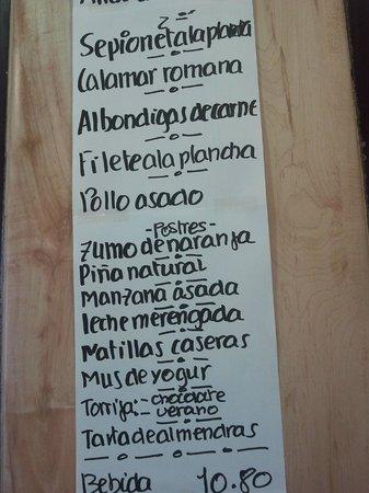 Bar Restaurante Rojas Clemente: Parte del menú del día