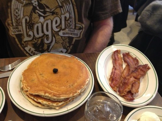 The Pancake Shop : Blueberry pancakes with a side of bacon