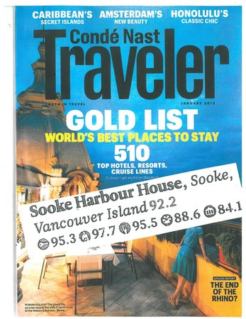 Sooke Harbour House Resort Hotel: award received 2012