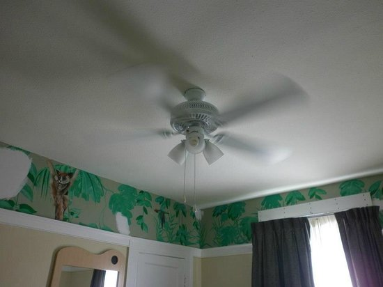 Adante Hotel: Ceiling fan/light (note the pull cords)