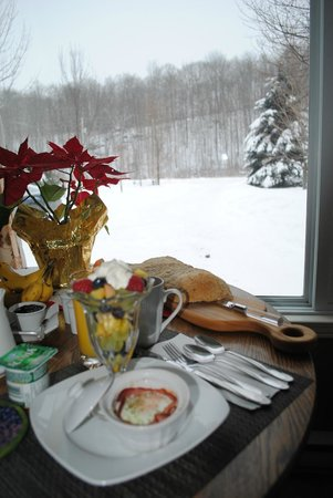 Little Island Lake Guest Suite: Beautiful view while enjoying breakfast
