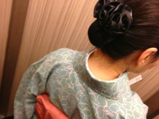 Nishiyama Ryokan: In the elevator: a sweet, kimono-clad woman took us to our room.
