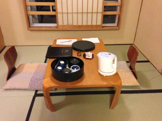 Nishiyama Ryokan: The first room we stayed in. Tea, soft wonton-like rice wrapped sweet bean paste snacks.