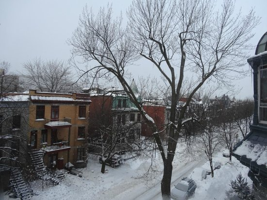 Gingerbread Manor Bed & Breakfast: Winter view of Avenue Laval from Champlain room