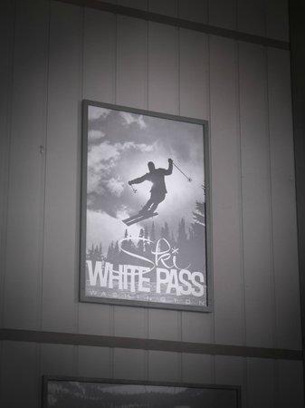 White pass ski area 60s era poster in the day lodge