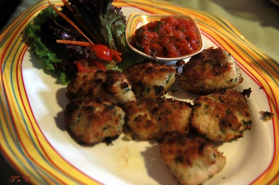 Tuscana Pizzeria : Parmesan crusted chicken tenders with mustard and herbs.