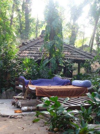 Bhakti Kutir: an outside lounging area