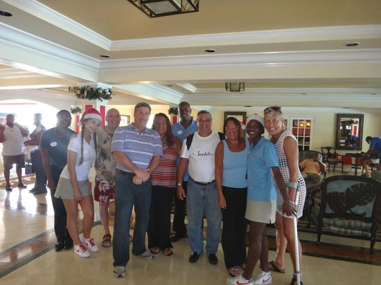 Sandals Regency La Toc: The staff saying good bye to us...