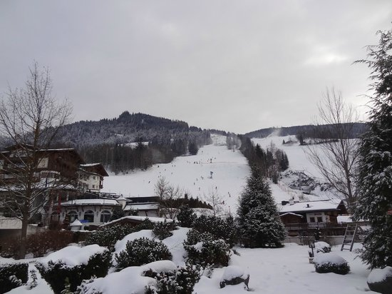 Hotel Oberforsthof: View of the slopes from the hotel grounds and our terrace