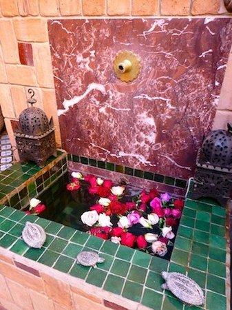 Maison Mnabha : A serene fountain in the courtyard
