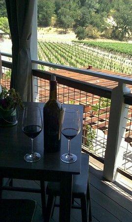 Venge Vineyards: A bottle of reserve cabernet on the veranda