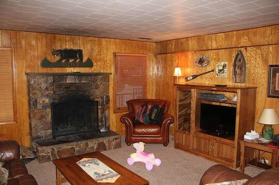 Sleepy Forest Cottages: Living Room with Flat Screen TV and Fireplace
