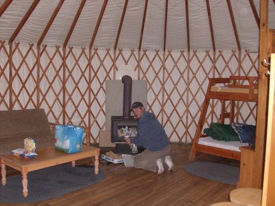 Salmon Lake Resort: inside yurt