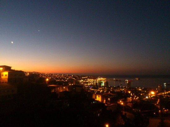 Casona Chilekatessen : Blick vom zimmereigenen Balkon bei Sonnenuntergang