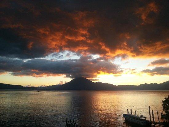 Atitlan adventure tours: Beautiful sunset at public deck Panajachel, 5:50 pm.
