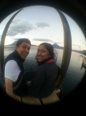Atitlan Adventure Tours: Taking pictures at public deck, Panajachel. 6:00 am.
