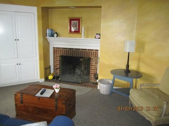 The Suites at Prince Michel: The fireplace. Duraflame logs are included in the winter.