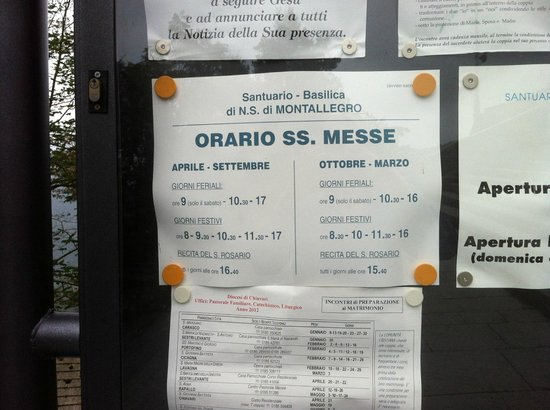 أوتيل مونتاليجرو: Basilica church hours