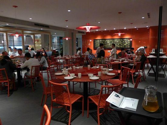 spacuous dining room with red and grey decor. - picture of tung
