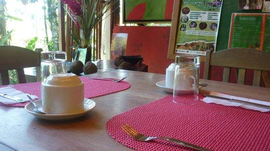 Ecoaldea Kapievi: El desayuno siempre entre las 8 y 9 am, frutas frescas y jugos de la región