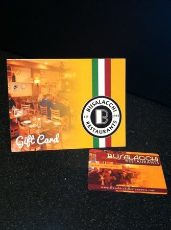 Busalacchi's Restaurant Gift Card - Picture of Trattoria ...